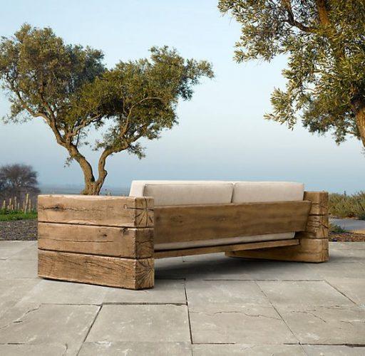 Καναπές από πελεκητή ξυλεία